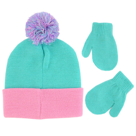 Nickelodeon Paw Patrol Hat and Mittens Cold Weather Set, Toddler Girls, Age 2-4 - The Accessories Outlet