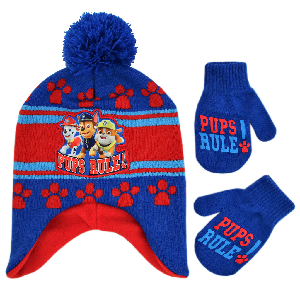 Nickelodeon Paw Patrol Hat and Mittens Cold Weather Set, Toddler Boys, Age 2-4 - The Accessories Outlet