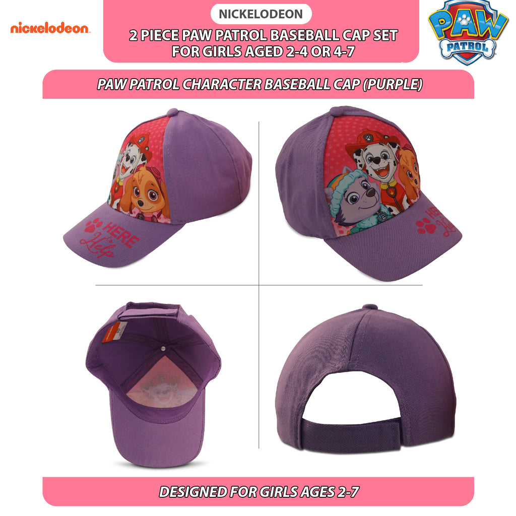 Nickelodeon Little Girls Paw Patrol Character Cotton Baseball Cap, 2 Piece Design Set, Age 2-7 - The Accessories Outlet