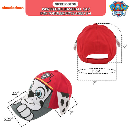 Nickelodeon Paw Patrol Marshall,Chase Baseball Cap, Toddler Boys Age 2-4 - The Accessories Outlet