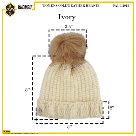 Khombu Womens Cold Weather Purl Knit Beanie with Natural Faux Fur Pom Pom - The Accessories Outlet