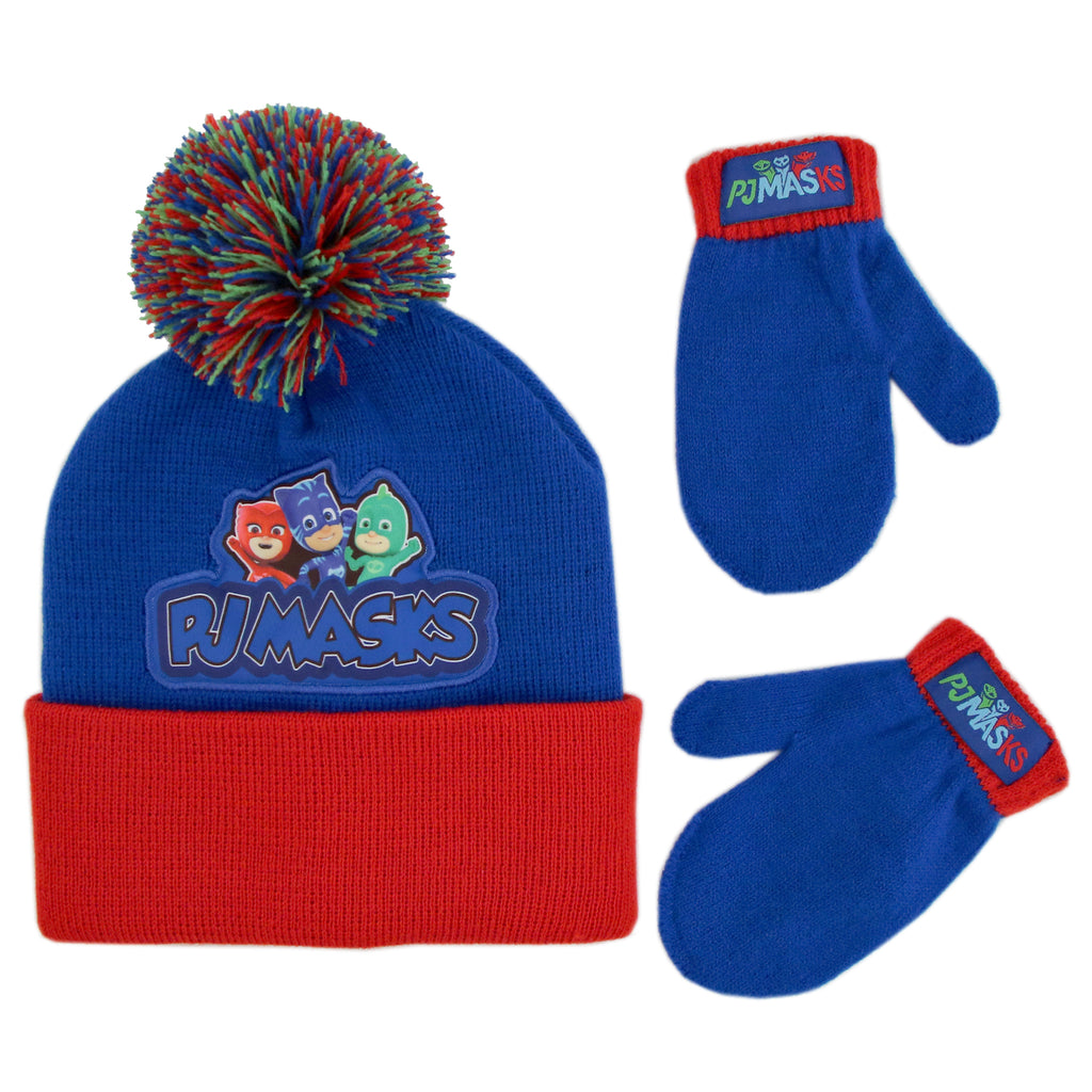 PJ Masks Beanie Hat and Mittens Cold Weather Set, Toddler Boys, Age 2-4 - The Accessories Outlet