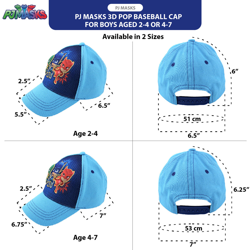 PJ Masks Little Boys Character 3D Pop Baseball Cap, Light Blue, Ages 2-4, 4-7 - The Accessories Outlet