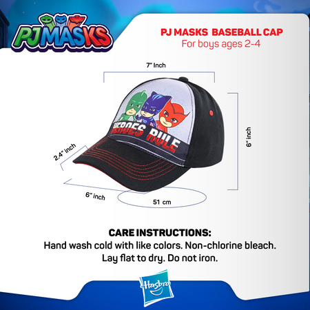 PJ Masks Character Baseball Cap, Black/Grey, Toddler Boys Ages 2-4 - The Accessories Outlet