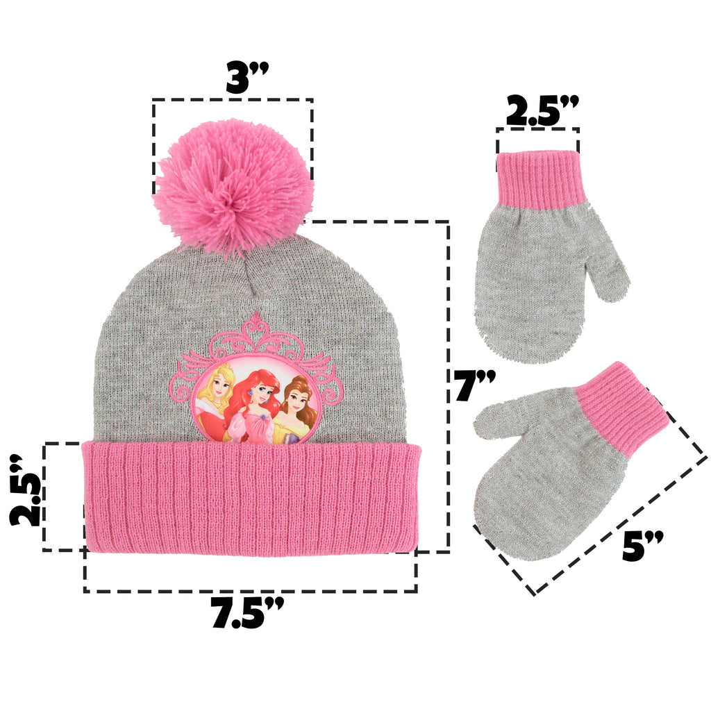 Disney Princess Hat and Mittens Cold Weather Set, Toddler Girls, Age 2-4 - The Accessories Outlet