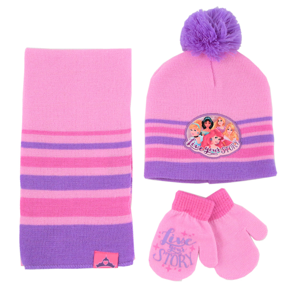Disney Princess Hat, Scarf and Gloves or Mitten Cold Weather Set, Toddler Girls, Age 2-4 or Little Girls Age 4-7 - The Accessories Outlet