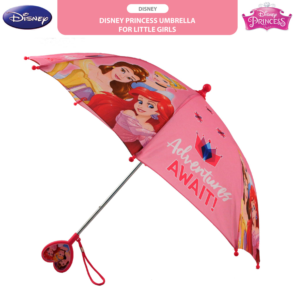Disney Little Girls Princess Character Rainwear Umbrella, Pink, Age 3-7 - The Accessories Outlet