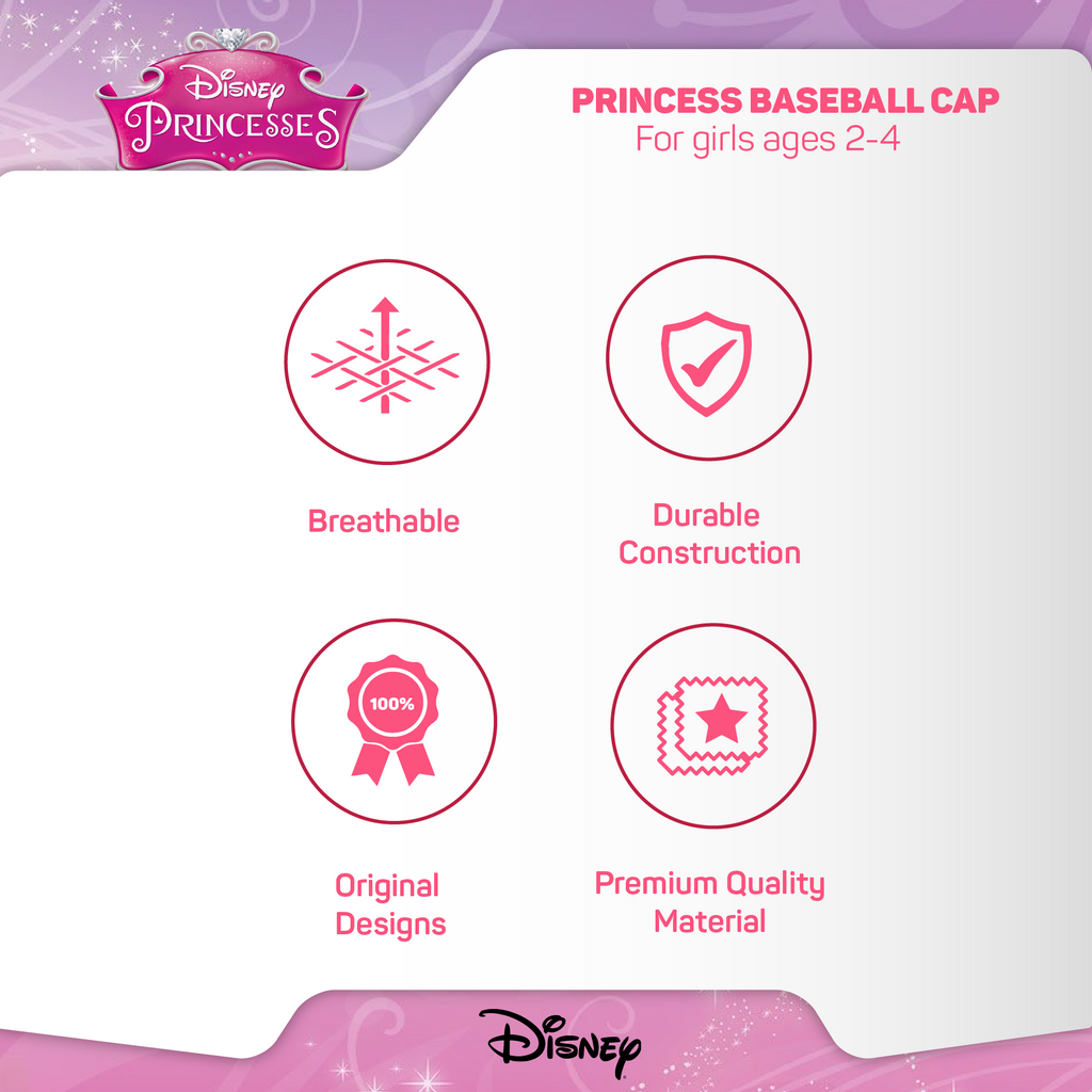 Disney Toddler Girls Princess Character Cotton Baseball Cap, Pink, Age 2-4 - The Accessories Outlet