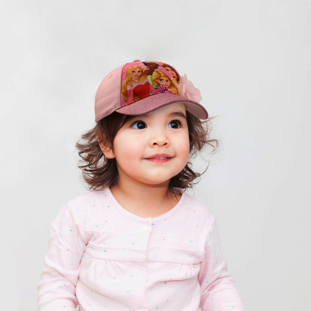 Disney Little Girls Princess Character Cotton Baseball Cap, Pink, Age 2-7 - The Accessories Outlet