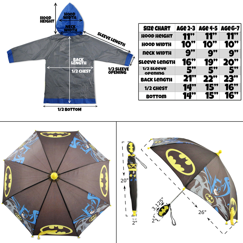 DC Comics Batman Character Slicker and Umbrella Rainwear Set, Little Boys, Age 2-7 - The Accessories Outlet