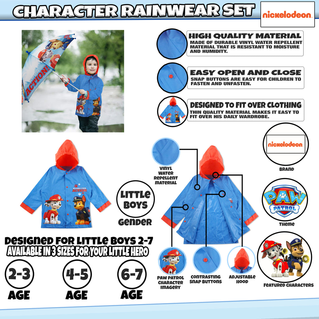 Nickelodeon Paw Patrol Slicker and Umbrella Rainwear Set, Little Boys, Age 2-7 - The Accessories Outlet