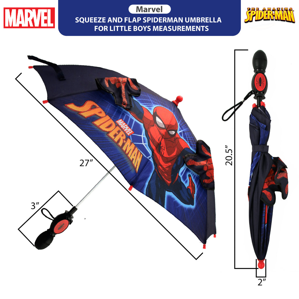 "Marvel Little Boys Spiderman 'Squeeze and Flap"" Fun Rainwear Umbrella, Blue, Age 3-7 - The Accessories Outlet"
