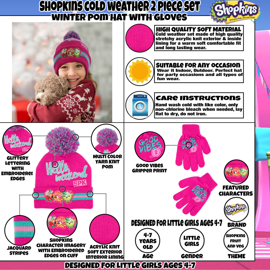 Shopkins Assorted Character Hat and Gloves Cold Weather Set, Little Girls, Age 4-7