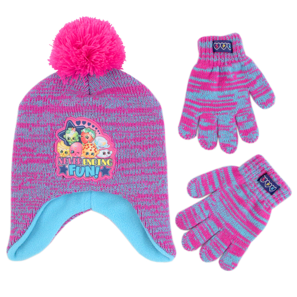 Shopkins Characters Hat and Gloves Cold Weather Set, Little Girls, Age 4-7