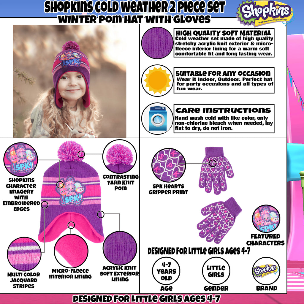 Shopkins Assorted Character Hat and Gloves Cold Weather Set, Little Girls, Age 4-7 - The Accessories Outlet