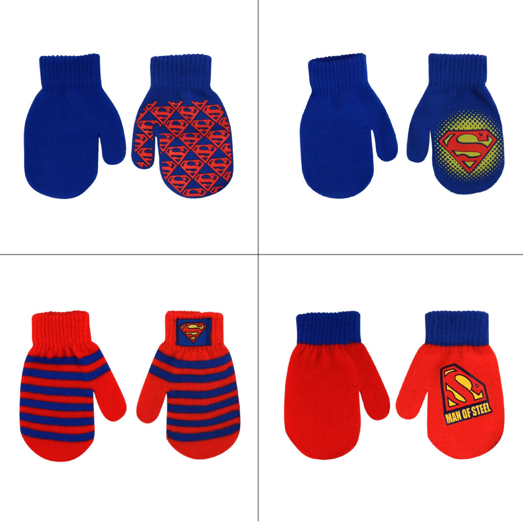 DC Comics Superman Designs 4 Pair Acrylic Mittens Set, Toddler Boys, Age 2-4 - Accessory Place