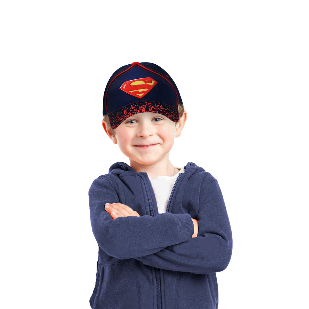 DC Comics Little Boys Superman 3D Pop Cotton Baseball cap, Navy/Black/Red, Age 2-4 or 4-7 - The Accessories Outlet