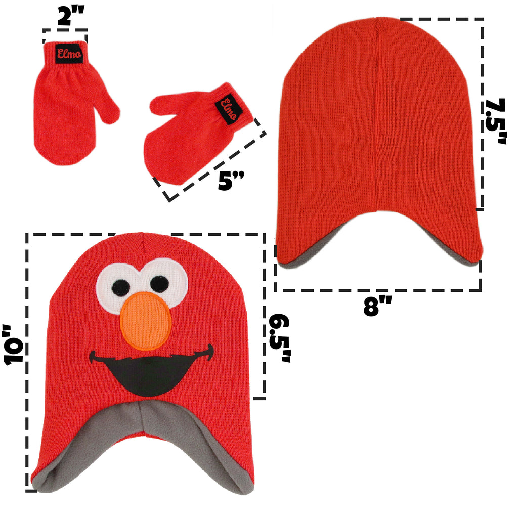 Sesame Street Elmo Hat and Mittens Cold Weather Set, Toddler Boys, Age 2-4 - The Accessories Outlet