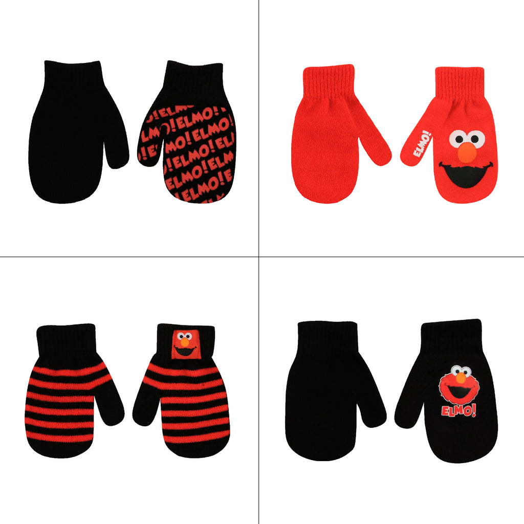 Sesame Street Elmo 4 Pair Mitten Set, Toddler Boys, Age 2-4 - The Accessories Outlet