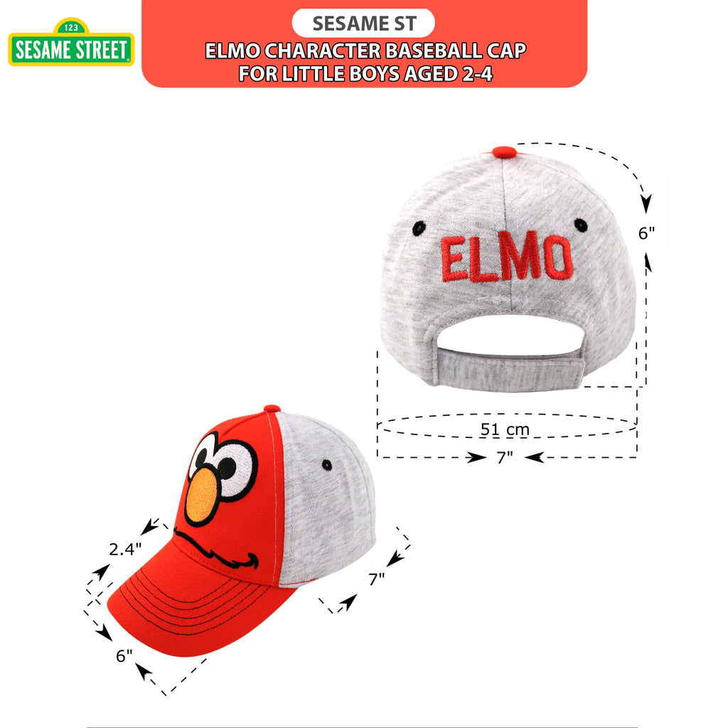 Sesame Street Elmo Heather Jersey Baseball Cap, Toddler Boys, Age 2-4 - The Accessories Outlet