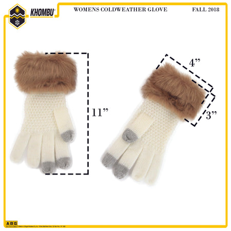 Khombu Womens Cold Weather Glove with Natural Fur Cuff and Touch Fingers - The Accessories Outlet