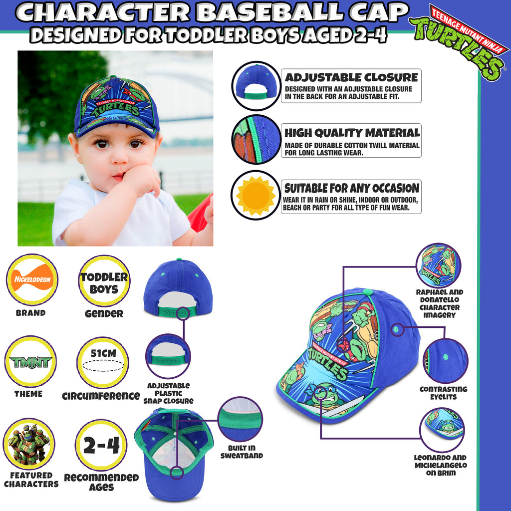 Nickelodeon's TMNT Cotton Baseball Cap, Toddler Boys, Age 2-4 - The Accessories Outlet