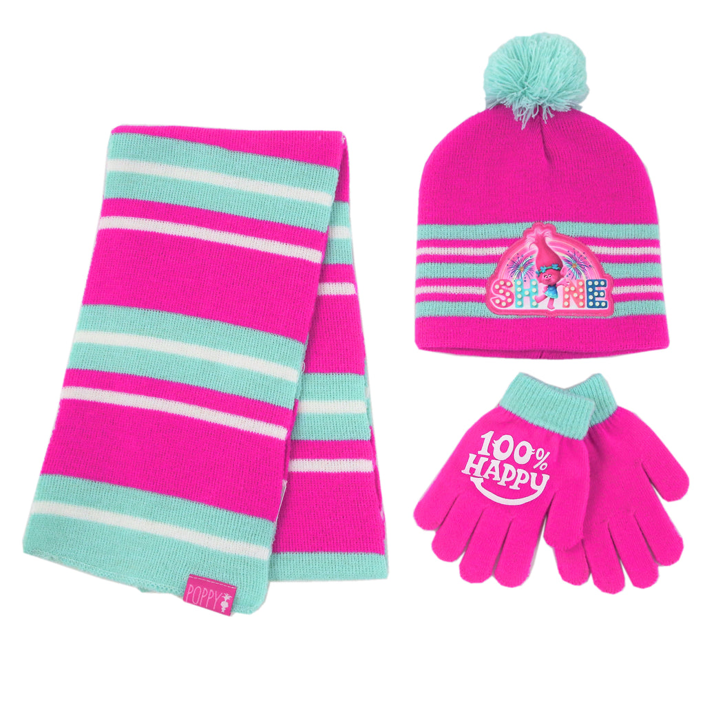 Trolls Poppy Hat, Scarf and Gloves Cold Weather Set, Little Girls, Age 4-7 - Accessory Place