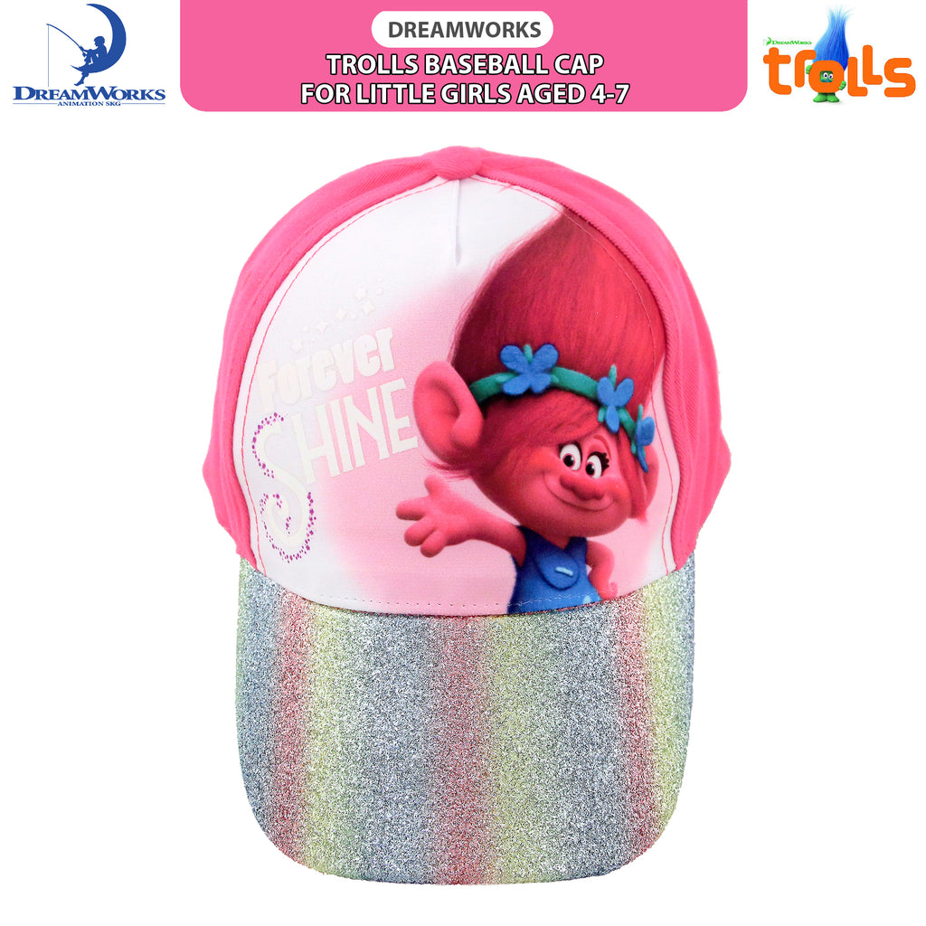 Trolls Poppy Character Baseball Cap, Little Girls Age 4-7 - Accessory Place