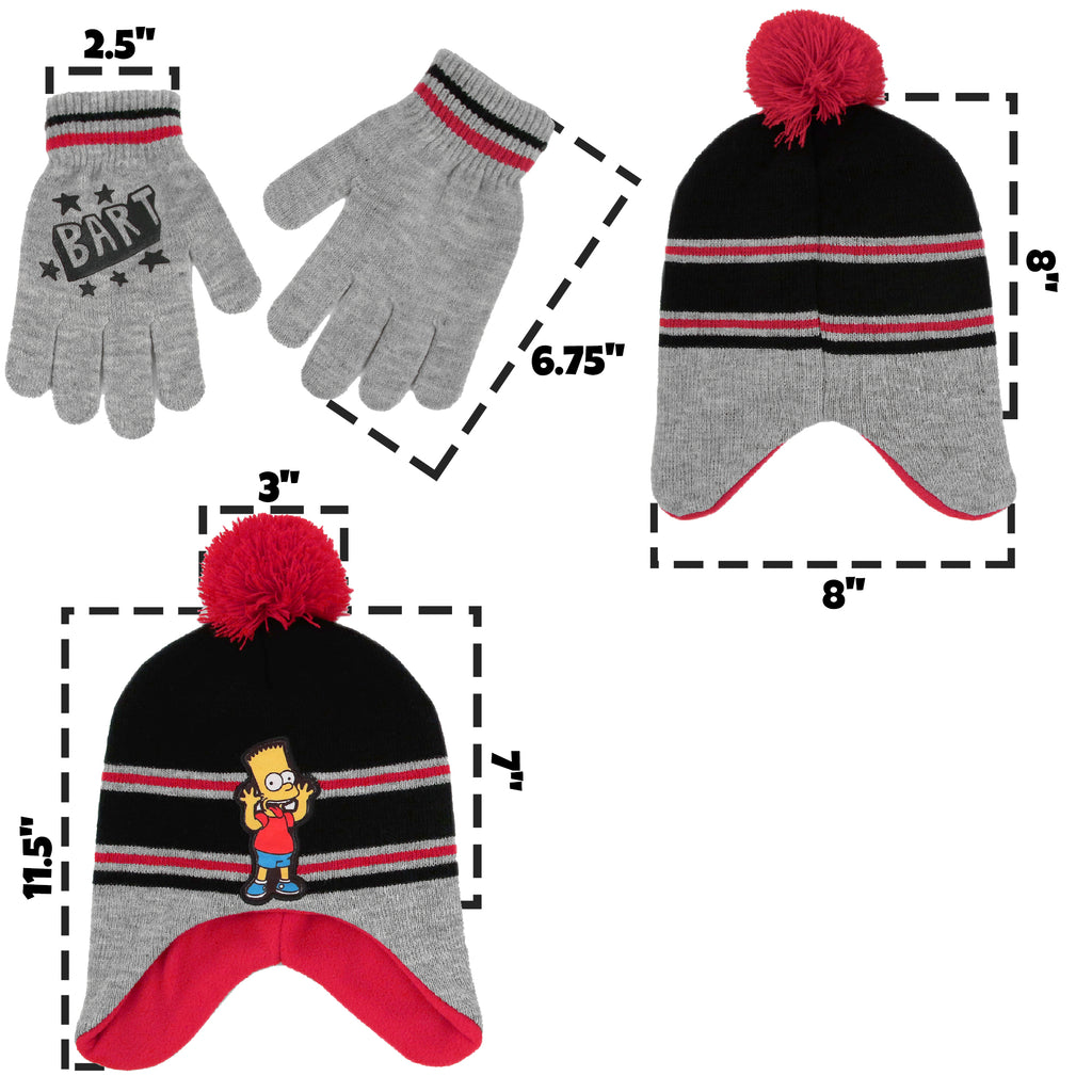 The Simpsons Bart Hat and Gloves Cold Weather Set, Little Boys, Age 4-7