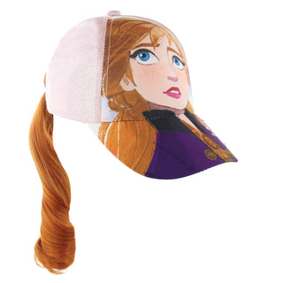 Disney Frozen 2 Elsa or Anna Baseball Cap for Girls with Ponytail Hairstyle Ages 4-14