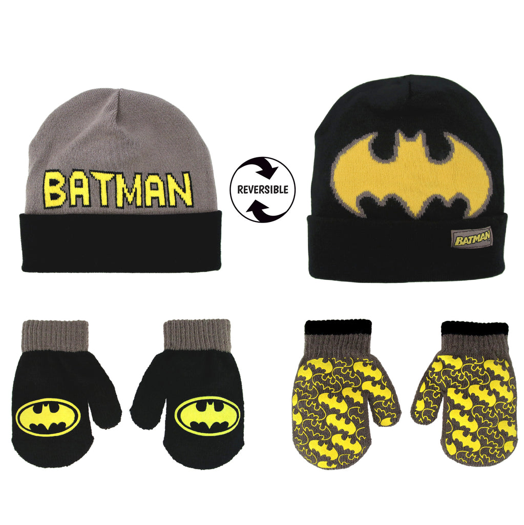 DC Comics Batman Reversible Hat and 2 Pair Mitten Cold Weather Set, Toddler Boys, Age 2-4 - The Accessories Outlet