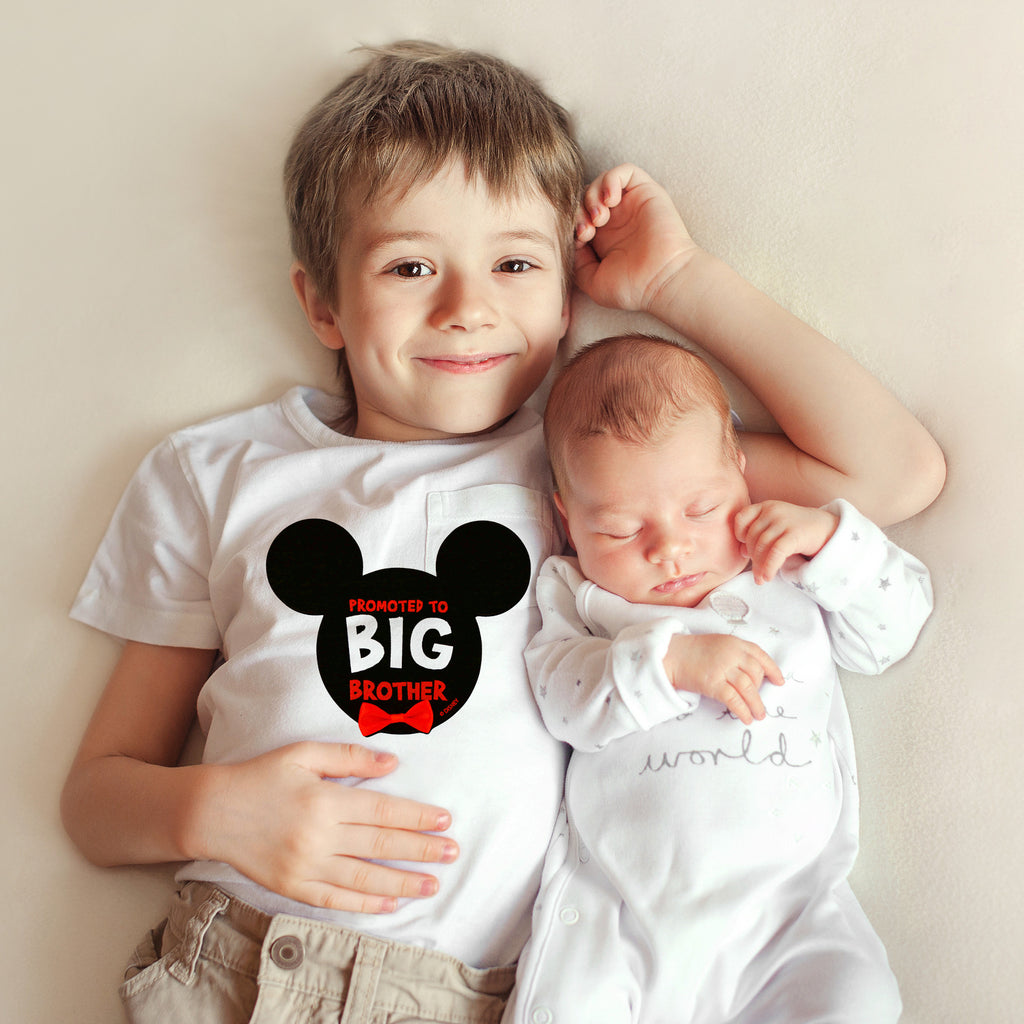 Disney Mickey Mouse Promoted to Big Brother Photo Sharing Belly Sticker, Little Boys, Age 2-7 - The Accessories Outlet