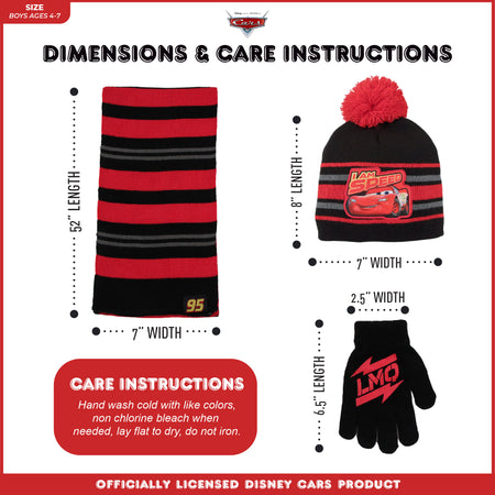 Disney Cars Lightning McQueen Hat, Scarf and Mitten or Glove Cold Weather Set, Toddler Boys, Age 2-4 or Little Boys, Age 4-7 - The Accessories Outlet