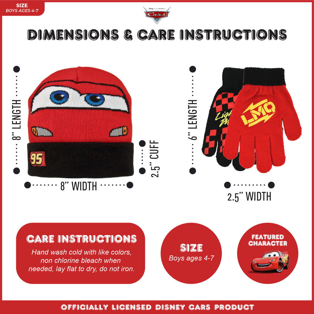 Disney Cars Lightning McQueen Reversible Hat and 2 Pair Mitten Cold Weather set, Toddler or Little Boys Ages 2-4 or 4-7 - The Accessories Outlet