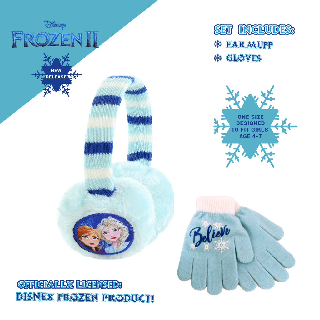 Disney Frozen 2 Elsa and Anna Earmuff and Gloves Cold Weather Set, Little Girls, Age 4-7 - The Accessories Outlet