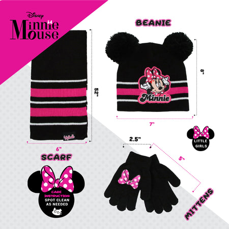 Disney Minnie Mouse Hat, Scarf and Mitten or Gloves Cold Weather Set, Toddler Girls, Age 2-4 or Little Girls Age 4-7