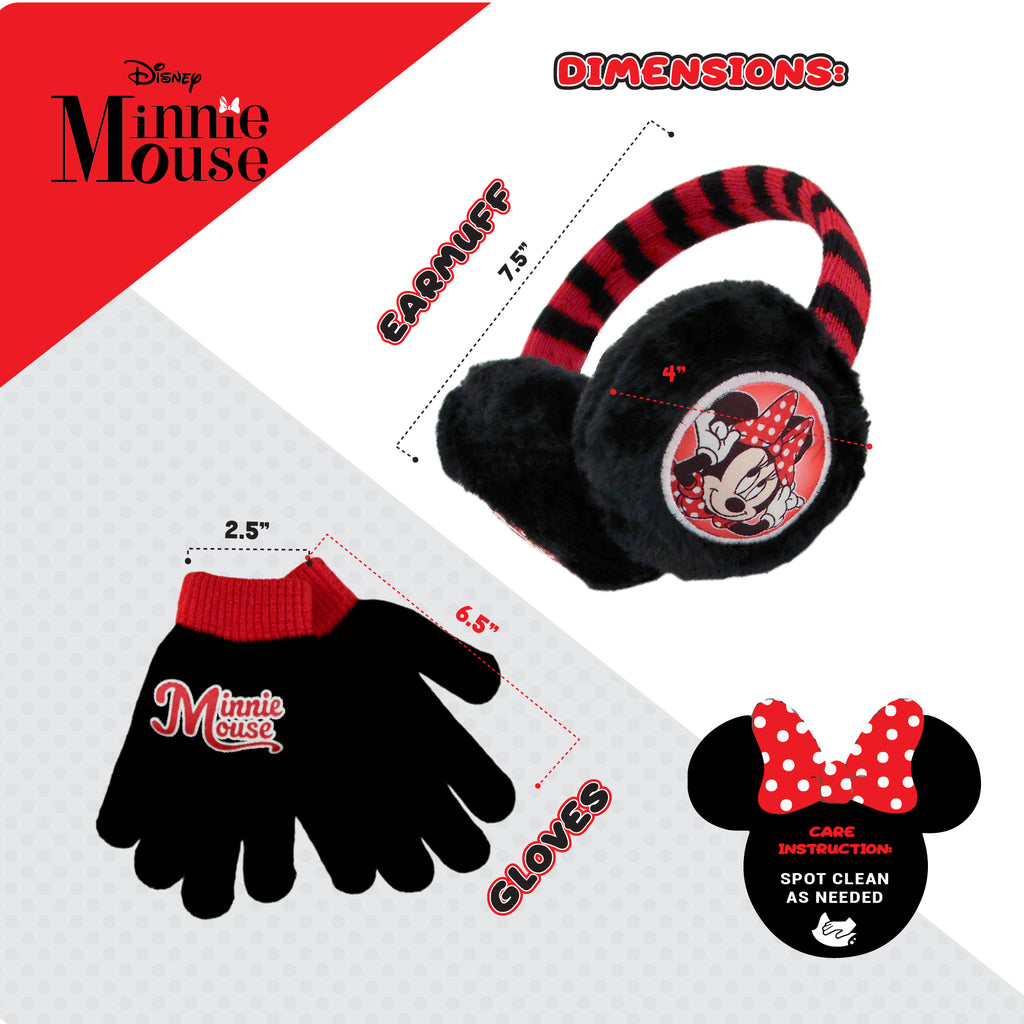 Disney Minnie Mouse Earmuff and Gloves Cold Weather Set, Little Girls, Age 4-7 - Accessory Place