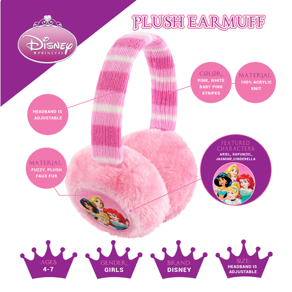 Disney Princess Earmuff and Gloves Cold Weather Set, Little Girls, Age 4-7 - The Accessories Outlet