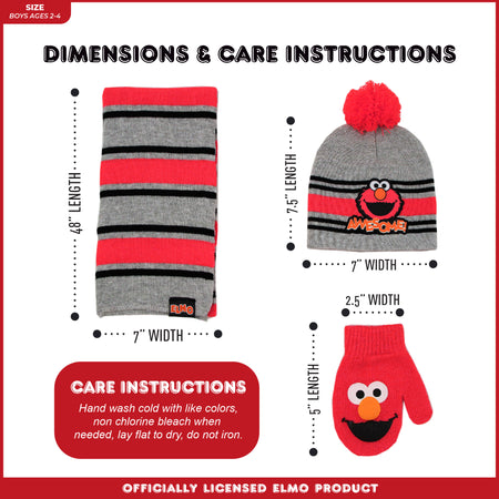 Sesame Street Elmo Hat, Scarf and Mitten Cold Weather Set, Toddler Boys, Age 2-4 - The Accessories Outlet