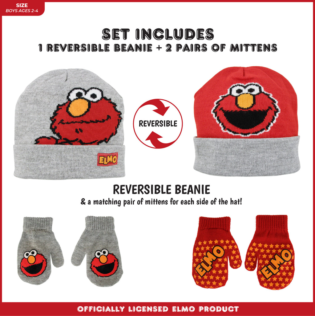 Sesame Street Elmo Reversible Hat and 2 Pair Mitten Cold Weather Set, Toddler Boys,Age 2-4 - The Accessories Outlet