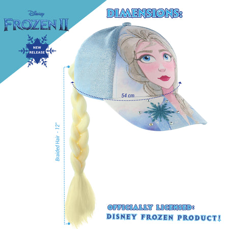 Disney Frozen 2 Elsa or Anna Baseball Cap for Girls with Ponytail Hairstyle Ages 4-14 - The Accessories Outlet