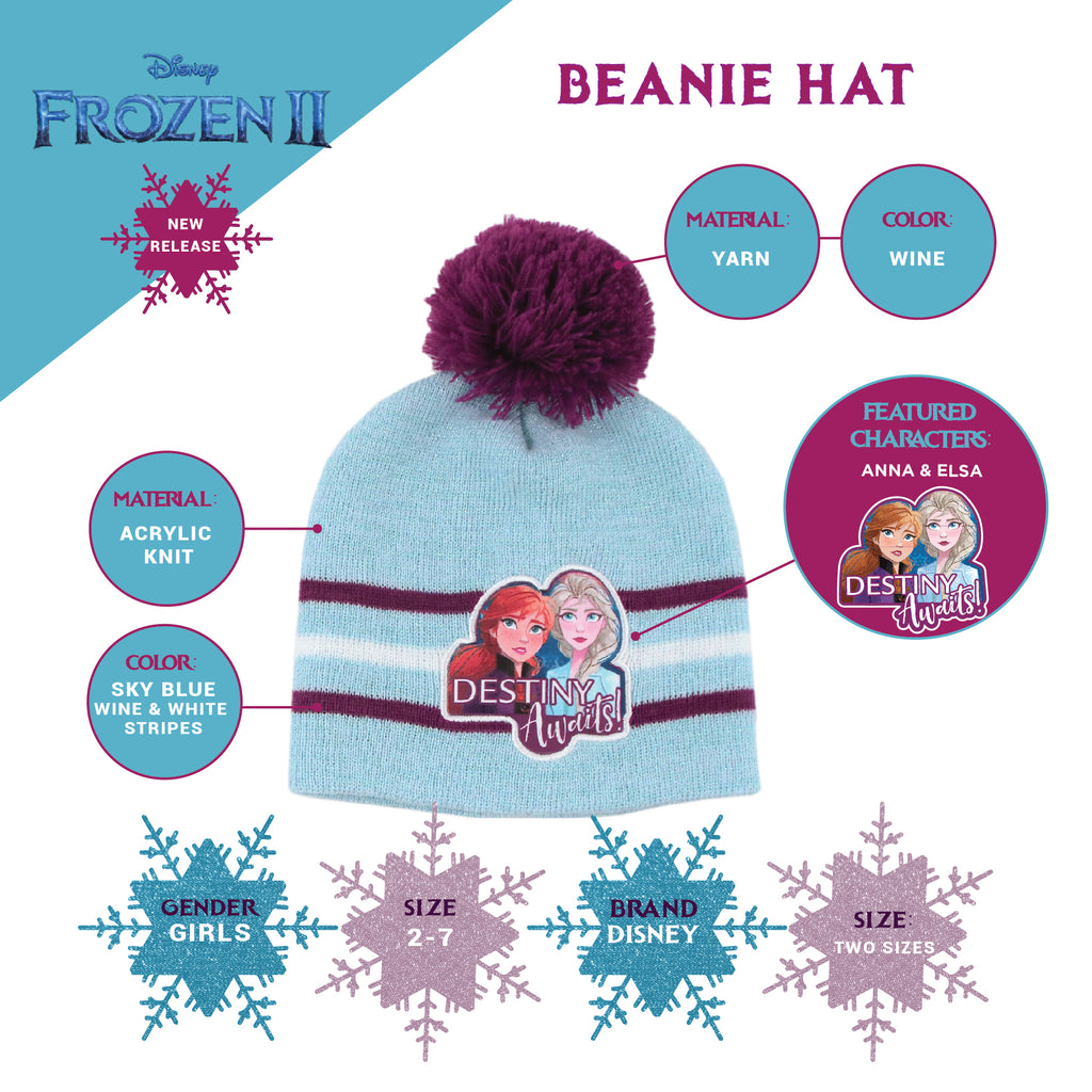 Disney Frozen Elsa and Anna Hat, Scarf and Gloves or Mittens Cold Weather Set, Toddler Girls, Age 2-4 or Little Girls, Age 4-7 - The Accessories Outlet