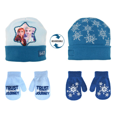 Disney Frozen Elsa and Anna Reversible Hat and 2 Pair Mitten or Glove Cold Weather Set, Toddler Girls, Age 2-4 or Little Girls, Age 4-7 - The Accessories Outlet