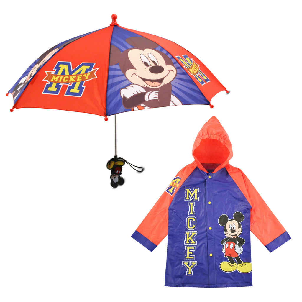 Disney Mickey Mouse Slicker and Umbrella Rainwear Set, Toddler and Little Boys, Age 2-5 - The Accessories Outlet