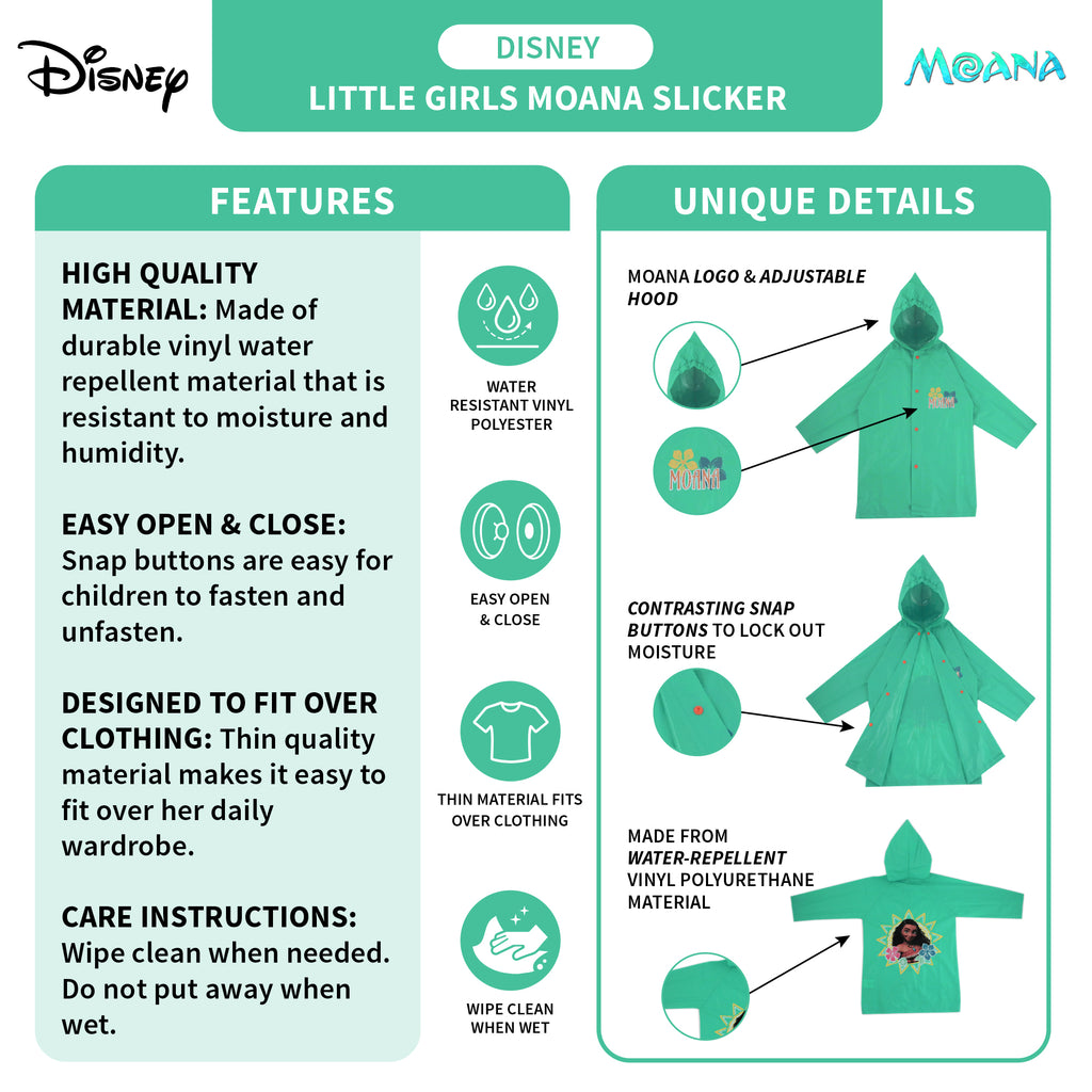 Disney Moana Slicker and Umbrella Rainwear Set, Little Girls, Age 4-5 or 6-7 - The Accessories Outlet