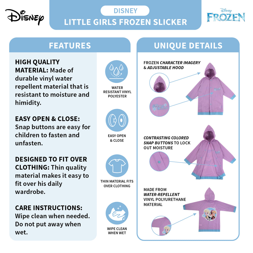 Disney Frozen Elsa and Anna Slicker and Umbrella Rainwear Set, Little Girls, Age 4-5 or 6-7 - The Accessories Outlet