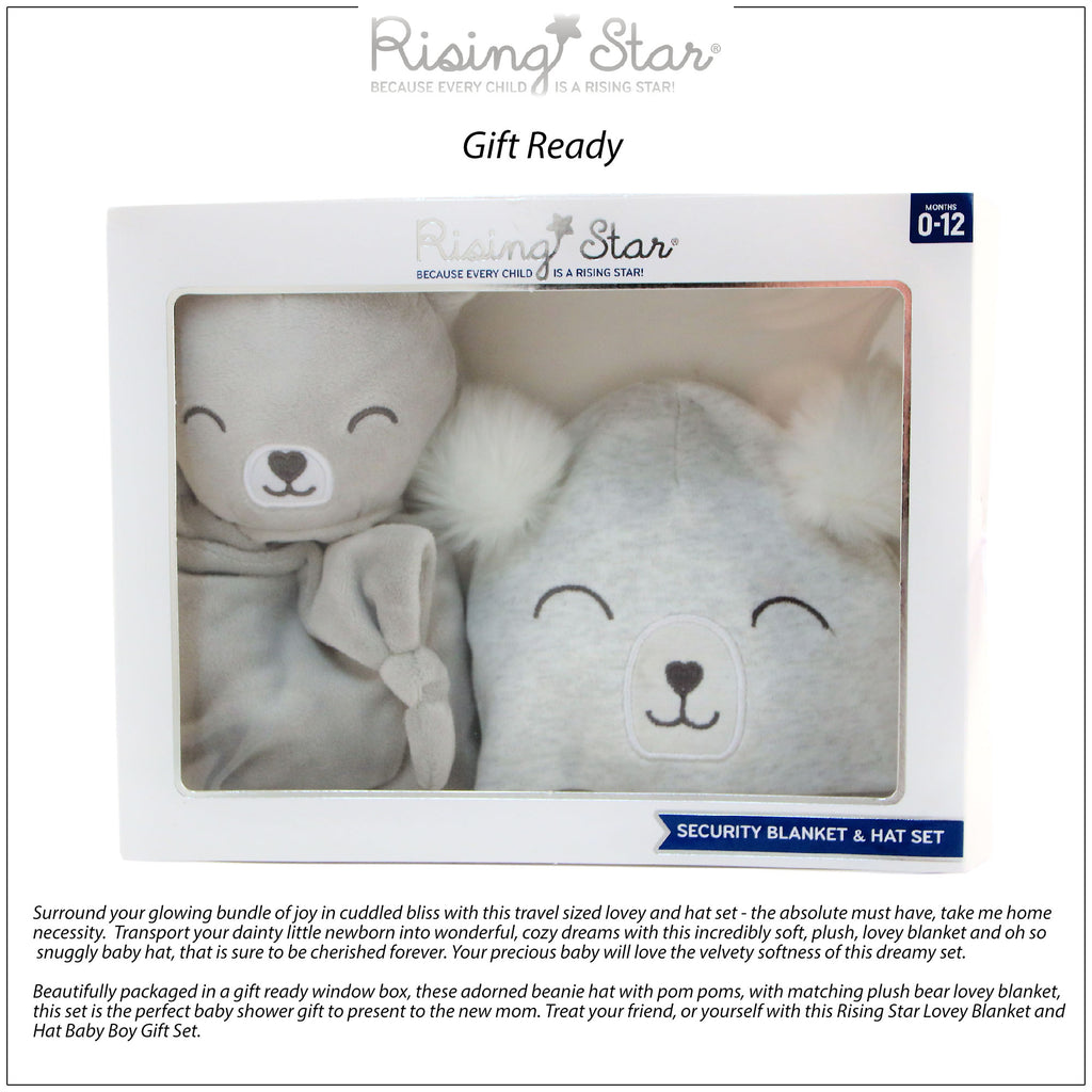Rising Star Baby Boy Plush Lovey Bear Blanket with Matching Hat Set, Light Grey, Ages 0-12M - The Accessories Outlet