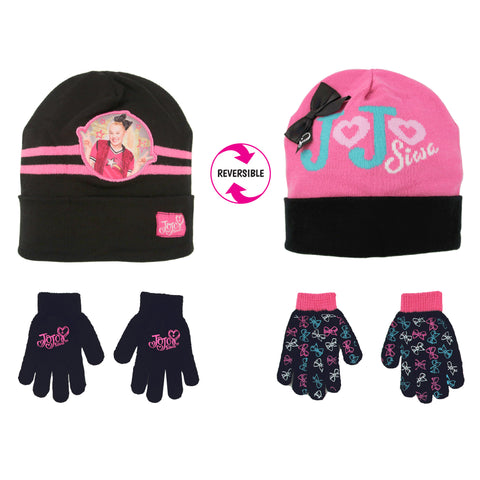 Nickelodeon JoJo Reversible Hat and 2 Pair Gloves Cold Weather Set, Little Girls, Age 4-7
