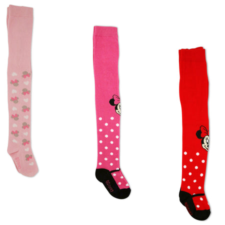 Disney Minnie Mouse Polka Dot Tights, 3 Piece Variety Pack, Baby Girls, 0-24M - Accessory Place