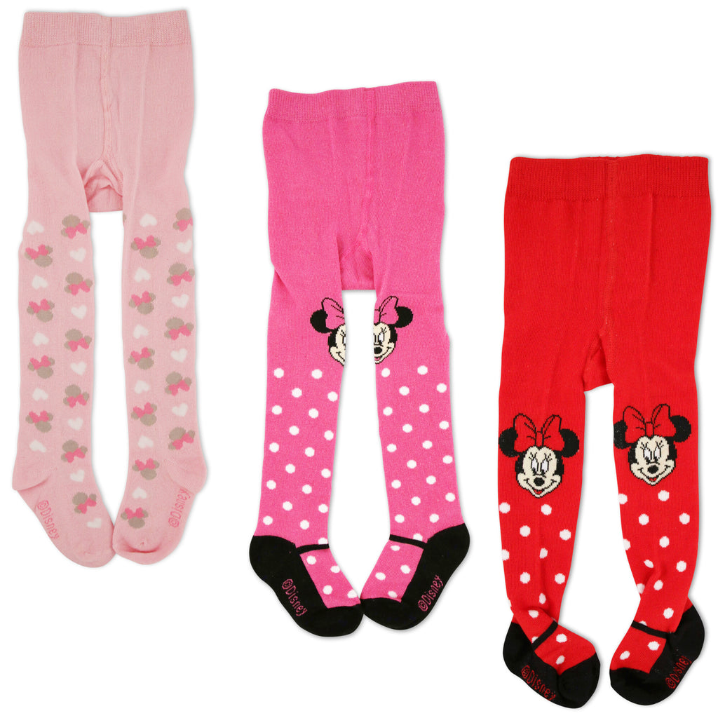Disney Minnie Mouse Polka Dot Tights, 3 Piece Variety Pack, Baby Girls, 0-24M - The Accessories Outlet